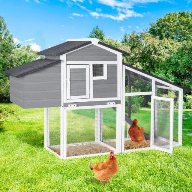 IDMarket - Poulailler Comfort Gris avec Pondoir en Bois